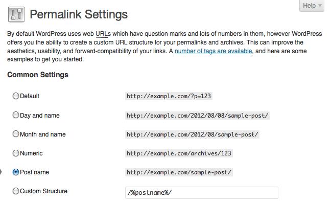 paramètres permalink WordPress