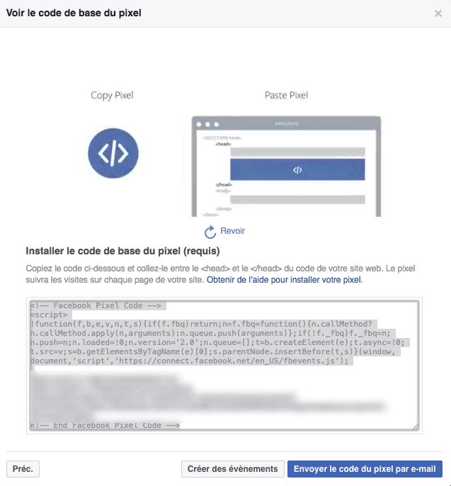 Comment obtenir le code Pixel Facebook
